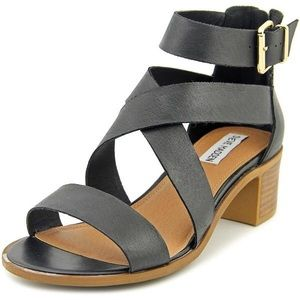 Steve Madden Raeleen Black Leat Sandals NEW